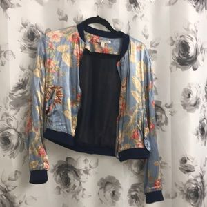 Satin floral Bomber jacket.